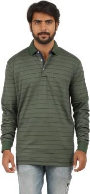 Donz Striped Men's Polo Neck Green, Blue T-Shirt