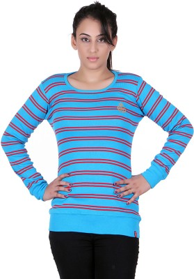 Oner Party, Casual, Sports, Festive Full Sleeve Solid, Striped Women's Blue, Maroon Top