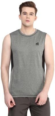Aurro Solid Men's Round Neck Grey T-Shirt