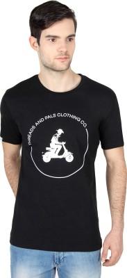 Threads & Pals Printed Men's Round Neck Black T-Shirt