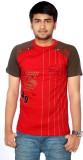 Aaduki Striped Men's Round Neck Red T-Sh...