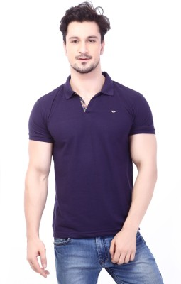 Rugby Solid Men's Polo Neck Dark Blue T-Shirt