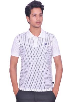LEAF Polka Print Men's Polo Neck White, Black T-Shirt