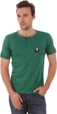 Campus Sutra Solid Men's Henley Green T-Shirt