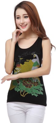 Madaam Party Sleeveless Printed Women's Black Top