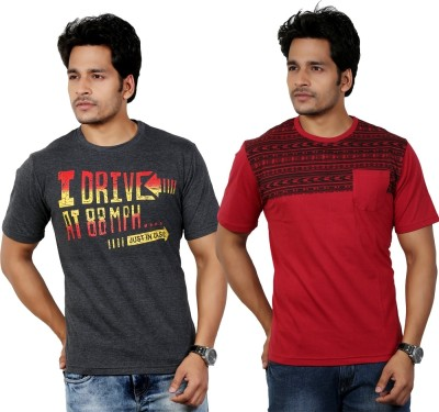 Eco Trend Printed Men's Round Neck Grey, Red T-Shirt