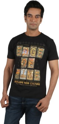 Moncheri Printed Men's Round Neck Black T-Shirt