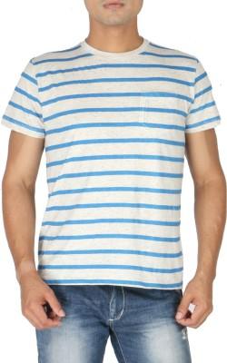 Vettorio Fratini Striped Men,s Round Neck Blue T-Shirt