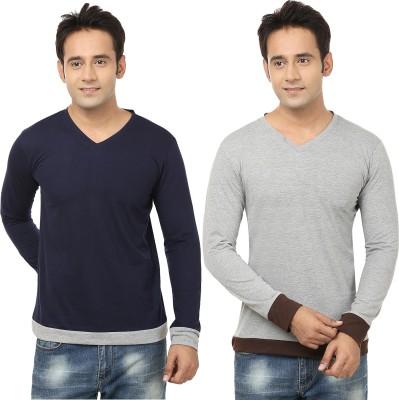 Jangoboy Solid Men,s V-neck Blue, Grey T-Shirt
