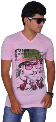 A1 Tees Printed Men's Round Neck Pink T-Shirt