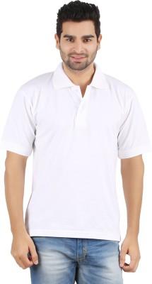Gnj Solid Men's Polo Neck White T-Shirt