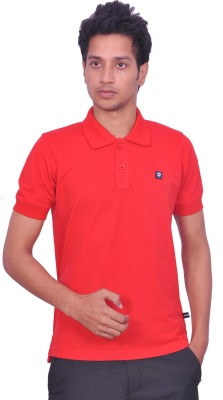 LEAF Solid Men's Polo Neck Red T-Shirt