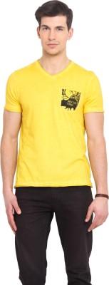 Smokestack Printed Men's V-neck Yellow T-Shirt