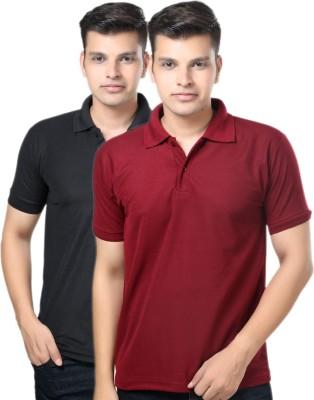 eSOUL Solid Men's Polo Neck Black, Maroon T-Shirt