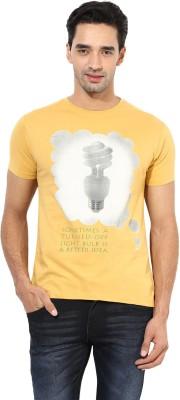 Okane Printed Men's Round Neck Yellow T-Shirt