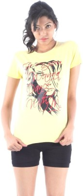 S9 Women Printed Women's Round Neck Yellow T-Shirt