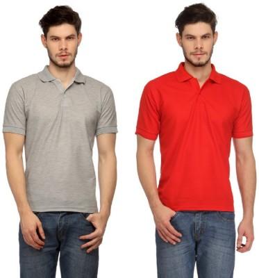 Davie Jones Solid Men's Polo Grey, Red T-Shirt