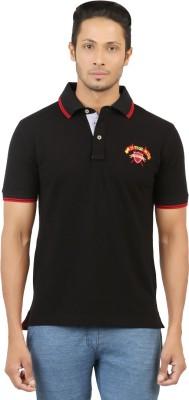 Menthol Solid, Embroidered, Applique Men's Polo Neck Black T-Shirt
