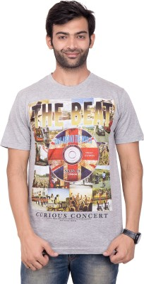 YOUTH & STYLE Printed Men's Round Neck Grey T-Shirt