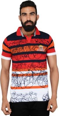 Gotit Printed Men's Mandarin Collar Red T-Shirt