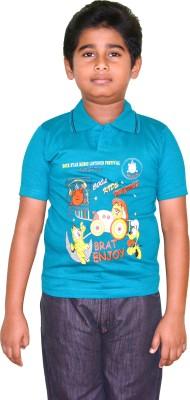 Harsha Avatar Printed Boy's Polo Neck Light Blue T-Shirt
