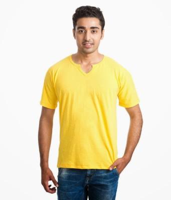NU9 Solid Men's Fashion Neck Yellow T-Shirt