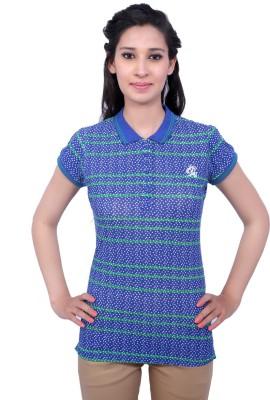 Duke Stardust Casual Short Sleeve Printed Women's Blue Top
