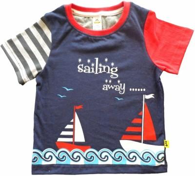 Tiny Bee Printed Baby Boy,s Round Neck Light Blue T-Shirt