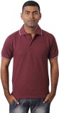 Grass Solid Men's Polo Neck Maroon T-Shi...