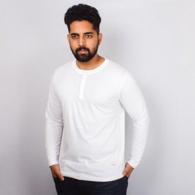 Arcanumz Solid Men's Henley White T-Shirt