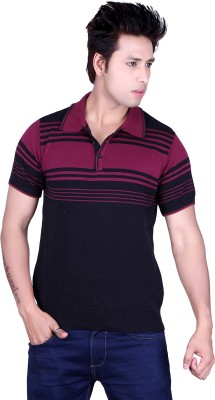 Dezyn Striped Men's Polo Neck Black, Purple T-Shirt