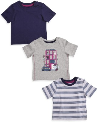 Mothercare Solid Round Neck White, Grey, Blue T-Shirt