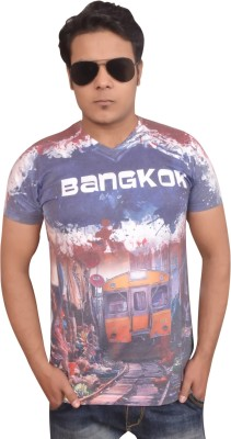 LofoX Printed Men's V-neck Multicolor T-Shirt