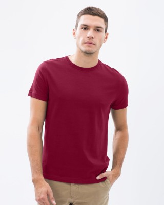 Vogue Solid Men's Round Neck Maroon T-Shirt