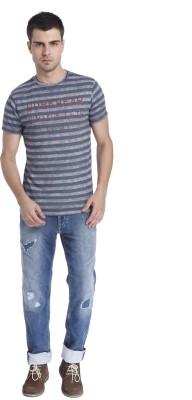 Jack & Jones Striped Men's Round Neck Black T-Shirt