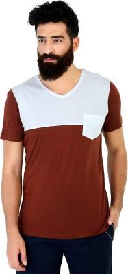 Mr Button Solid Men's V-neck Brown T-Shirt