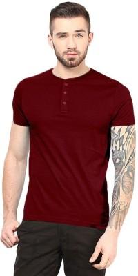 Gallop Solid Men's Henley Maroon T-Shirt