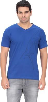 Indian Engineer Printed Men's V-neck Blue T-Shirt