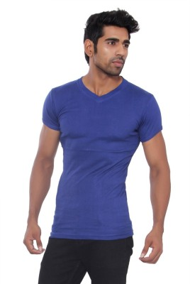Pezzava Self Design Men's V-neck Reversible Blue, Grey T-Shirt