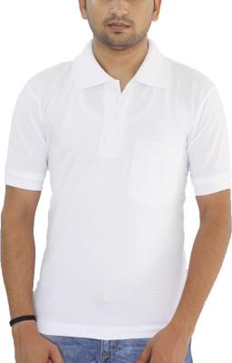 Grey Tree Solid Men,s Polo Neck White T-Shirt