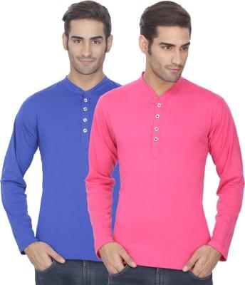 eSOUL Solid Men's Henley Pink, Blue T-Shirt