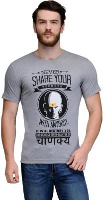 Rootstock Printed Men's Round Neck Grey T-Shirt