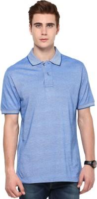 Mudo Solid Men's Mandarin Collar Blue T-Shirt