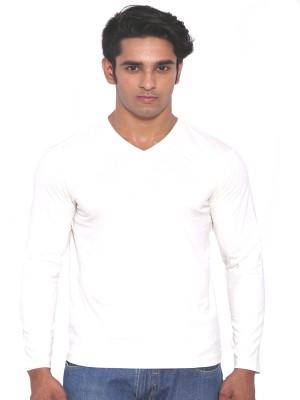Rat Trap Solid Men's V-neck White T-Shirt