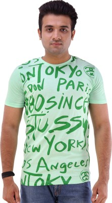 Goyal Arts Printed Men's Round Neck Green T-Shirt
