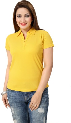 Go4it Solid Women's Round Neck Yellow T-Shirt
