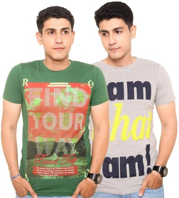 Zwizdot Printed Men,s Round Neck Green, Grey T-Shirt