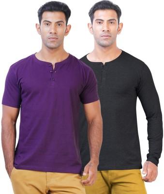 Click Hit Solid Men's Henley Purple, Black T-Shirt