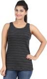 Hoodz Striped Women's Round Neck Black T...