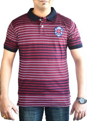 CAPRICIOUS Striped Men's Polo Neck Maroon, Blue T-Shirt